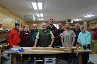 David Klco, Sue Klco(standing in for Ann Rodenbeck), Bill Klco, Tim Lincolnhol, Jimmy Edgett, Mike Lincolnhol, Raymond F. Lincolnhol, Raymond C. Lincolnhol, Ron Barch. Photo by Victor Edwards of Bamboo Bend in his wonderful workshop.