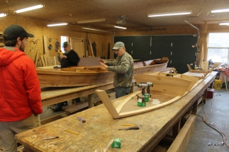 Visiting a boat building friend of Victors
