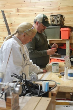 Ann and Tim glueing.
